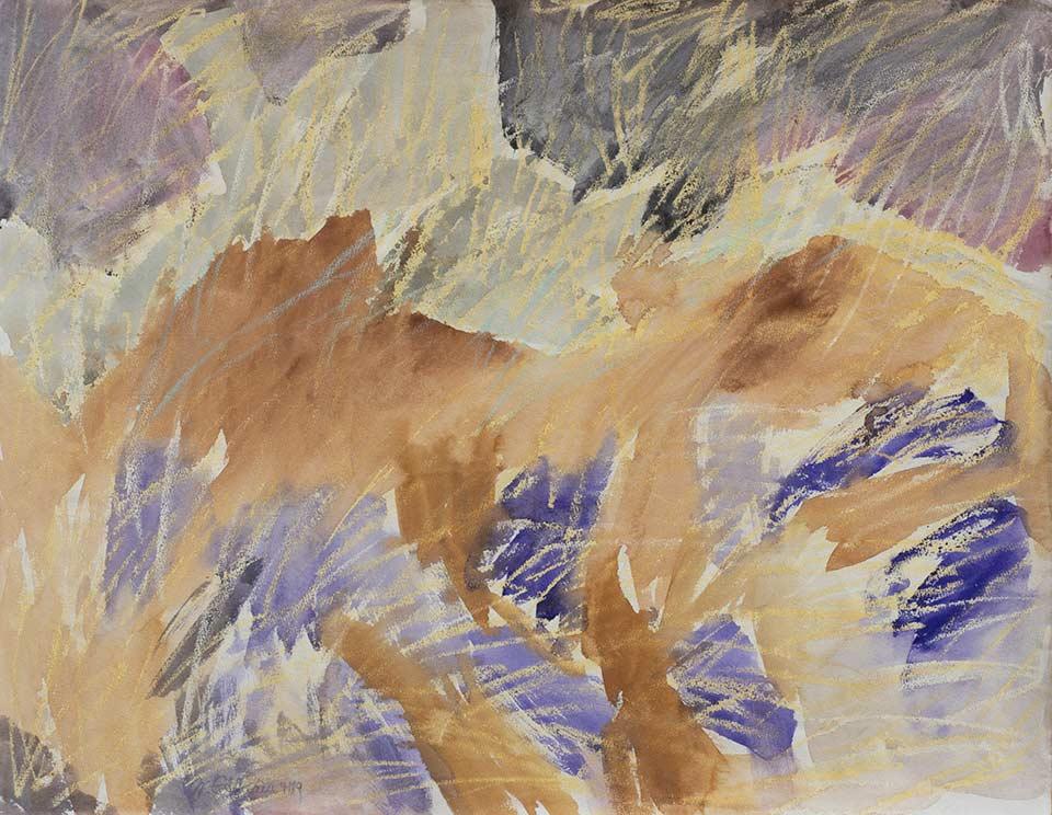 kreta landschaft mit castell, aquarell von michael edelmann