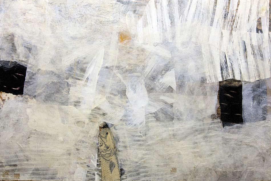 Michael Edelmann, Mehr Licht 2012 Mischtechnik/ Holz 66/98 cm