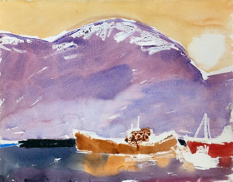 hafen in island - aquarell von michael edelmann