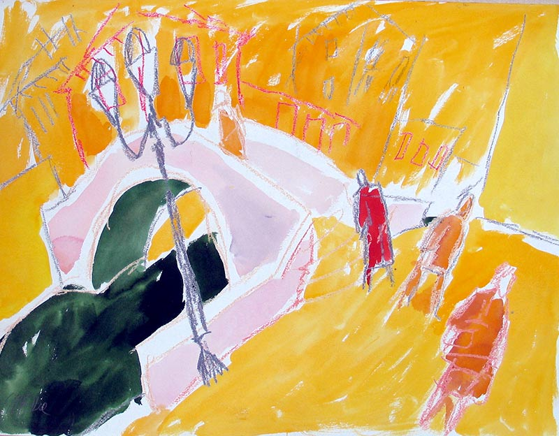 bruecke in venedig - aquarell von michael edelmann