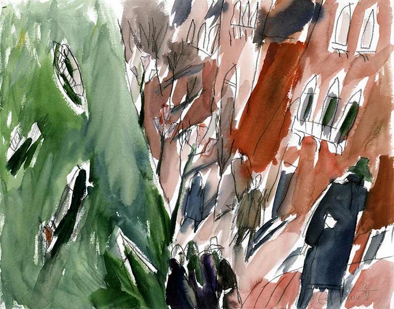 Lido di Venezia - aquarell von michael edelmann