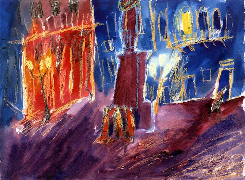 campo santa margerita - aquarell von michael edelmann
